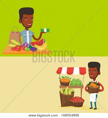 Two food banners with space for text. Vector flat design. Horizontal layout. African-american greengrocer standing near stall with fruits and vegetables. Young greengrocer holding basket with fruits.