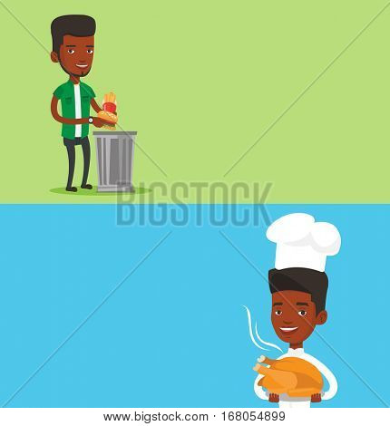 Two food banners with space for text. Vector flat design. Horizontal layout. African-american man putting junk food into a trash bin. Man refusing to eat junk food. Chief cook holding roasted chicken.