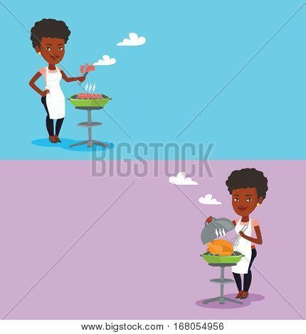 Two food banners with space for text. Vector flat design. Horizontal layout. Woman cooking steak on the barbecue grill. Young woman preparing steak on the barbecue grill. Woman having outdoor barbecue