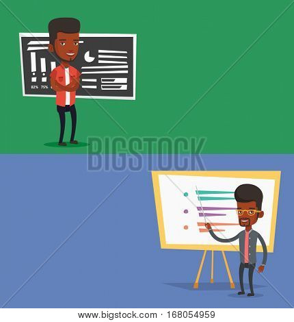Two educational banners with space for text. Vector flat design. Horizontal layout. Teacher standing in front of chalkboard. Teacher with folded arms standing in classroom. Teacher holding a pointer.