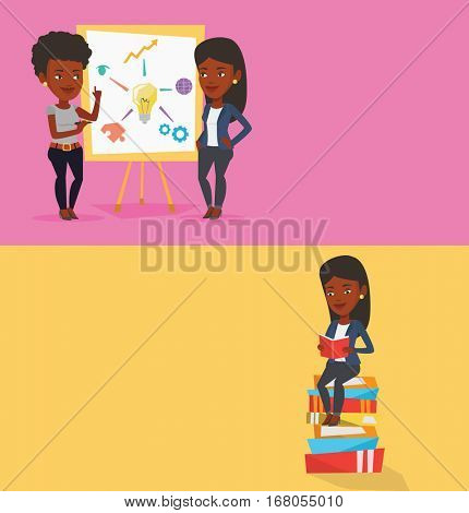 Two educational banners with space for text. Vector flat design. Horizontal layout. Student sitting on huge pile of books. Student reading book. Student sitting on stack of books with book in hands.