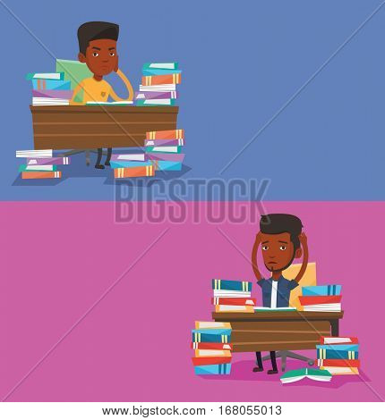 Two educational banners with space for text. Vector flat design. Horizontal layout. Stressed student sitting at table with books. Stressed student studying. Stressed student having too much to read.
