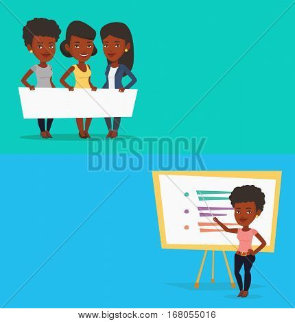 Two educational banners with space for text. Vector flat design. Horizontal layout. African-american teacher standing in front of board with a pointer. Teacher standing with a pointer in classroom.