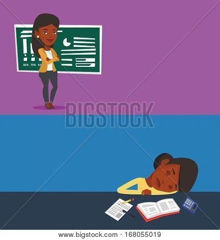 Two educational banners with space for text. Vector flat design. Horizontal layout. Exhausted student sleeping at the desk with book and exercise book. Tired african student sleeping after learning.