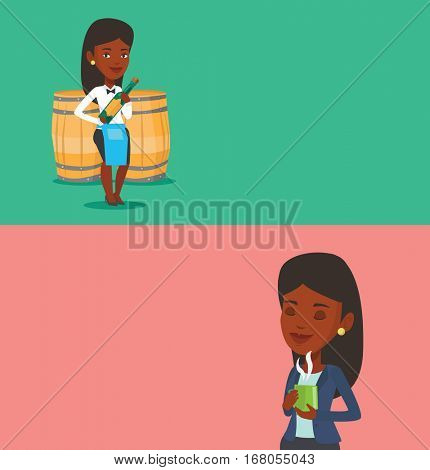 Two drinks banners with space for text. Vector flat design. Horizontal layout. African-american waitress holding bottle of wine. Young waitress with bottle standing on the background of wine barrels.