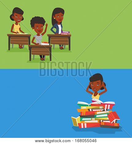Two educational banners with space for text. Vector flat design. Horizontal layout. Student sitting in huge pile of books. Exhausted girl preparing for exam with books. Stressed student reading book.
