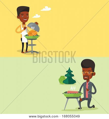 Two food banners with space for text. Vector flat design. Horizontal layout. Young man cooking chicken on barbecue grill outdoors. Man preparing chicken on barbecue grill. Man having a barbecue party.