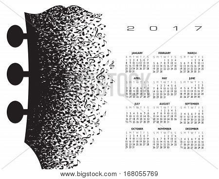 2017 calendar with a guitar headstock made of musical notes for print or web use