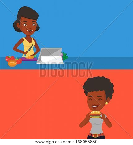 Two drinks banners with space for text. Vector flat design. Horizontal layout. Woman cutting vegetables for salad. Woman following recipe for vegetables salad on digital tablet. Woman cooking salad.