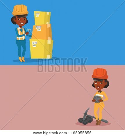 Two industrial banners with space for text. Vector flat design. Horizontal layout. African warehouse worker scanning barcode on box. Warehouse worker in hard hat checking barcode of box with a scanner