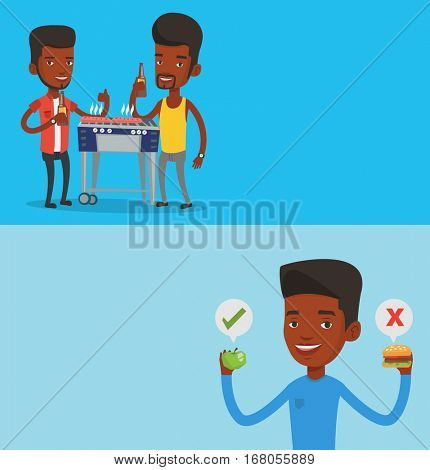 Two food and drink banners with space for text. Vector flat design. Horizontal layout. Friends preparing barbecue and drinking beer. Friends having fun at barbecue party. Men having outdoor barbecue.
