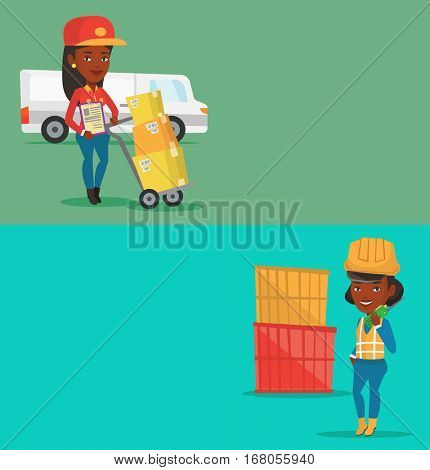 Two industrial banners with space for text. Vector flat design. Horizontal layout. Young delivery courier pushing trolley with cardboard boxes. Courier with clipboard standing in front of delivery van