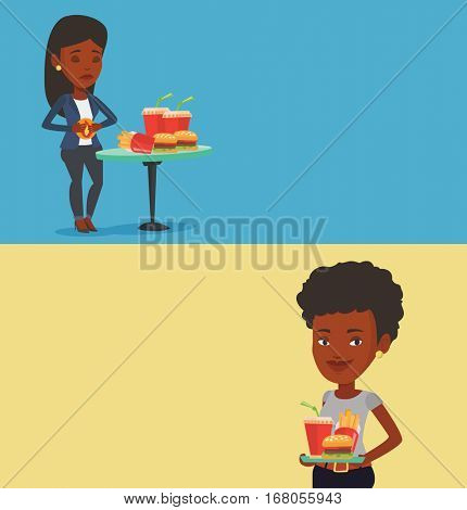 Two drinks banners with space for text. Vector flat design. Horizontal layout. African-american sad woman having stomach ache from heartburn. Upset young woman having stomach ache after fast food.