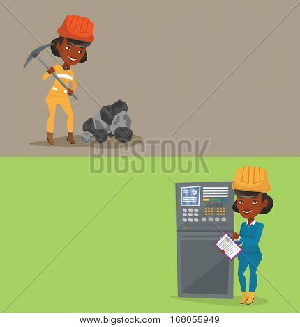 Two industrial banners with space for text. Vector flat design. Horizontal layout. Woman working on control panel. Worker pressing button at control panel. Engineer standing in front of control panel.