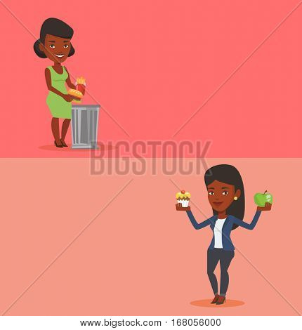 Two drinks banners with space for text. Vector flat design. Horizontal layout. Woman holding apple and cupcake. Woman choosing between apple and cupcake. Choice between healthy and unhealthy nutrition