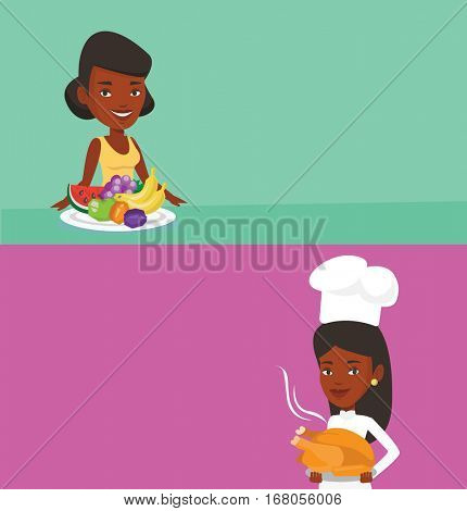 Two drinks banners with space for text. Vector flat design. Horizontal layout. African-american chief cook in uniform and cap holding roasted chicken. Chief cook holding plate with just fried chicken.