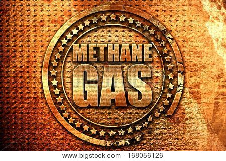 methane gas, 3D rendering, grunge metal stamp