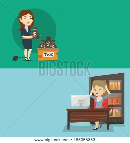 Two business banners with space for text. Vector flat design. Horizontal layout. Chained to a large ball business woman standing near box with bags full of taxes. Concept of tax time and taxpayer.