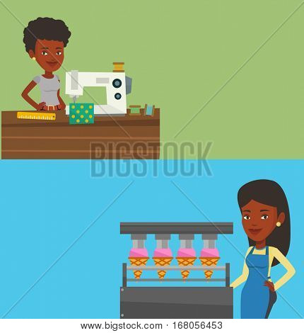 Two industrial banners with space for text. Vector flat design. Horizontal layout. African-american seamstress sewing on an industrial sewing machine. Seamstress using sewing machine in cloth factory.