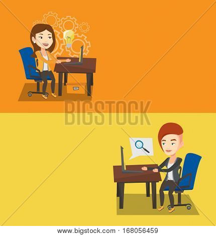 Two business banners with space for text. Vector flat design. Horizontal layout. Young businesswoman working on laptop with idea light bulb. Businesswoman having business idea. Business idea concept.