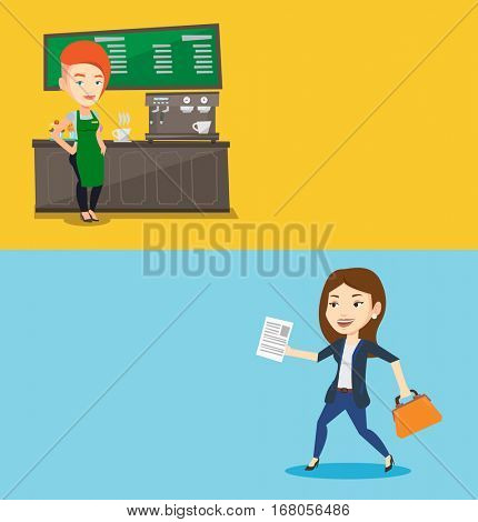 Two business banners with space for text. Vector flat design. Horizontal layout. Caucasian barista sanding in front of coffee machine. Female barista at coffee shop. Barista making a cup of coffee.