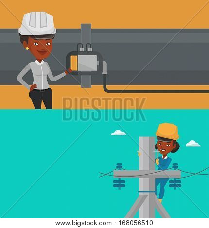 Two industrial banners with space for text. Vector flat design. Horizontal layout. African electrician in hard hat working on electric power pole. Young electrician at work on electric power pole.