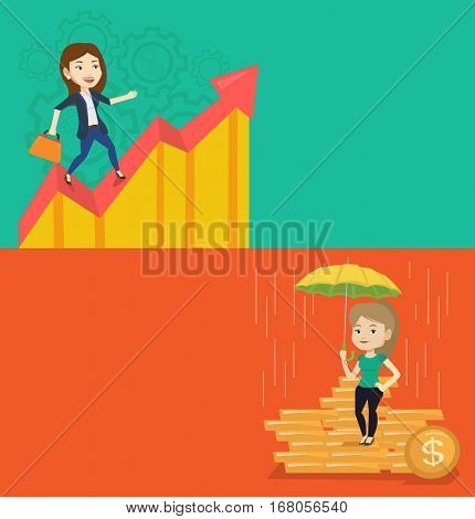 Two business banners with space for text. Vector flat design. Horizontal layout. Caucasian insurance agent. Insurance agent holding umbrella over coins. Business insurance, business protection concept