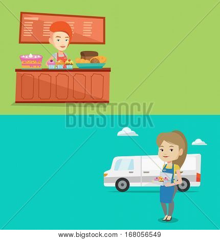 Two business banners with space for text. Vector flat design. Horizontal layout. Young bakery worker offering different pastry. Bakery worker standing behind the counter. Baker working at the bakery.