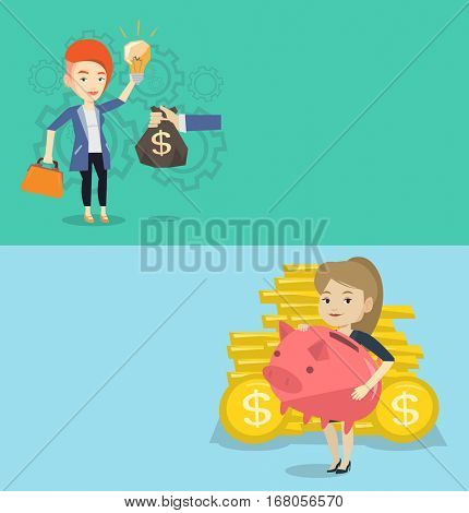 Two business banners with space for text. Vector flat design. Horizontal layout. Successful businesswoman exchanging her business idea light bulb to money bag. Concept of successful business idea.
