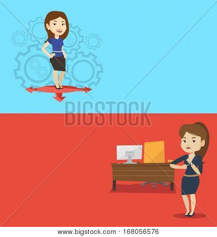 Two business banners with space for text. Vector flat design. Horizontal layout. Business woman thinking between three alternative options. Business woman choosing between three different options.