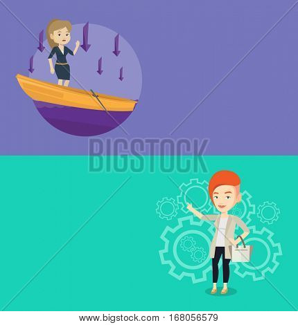 Two business banners with space for text. Vector flat design. Horizontal layout. Businesswoman asking for help in a sinking boat. Woman sinking and arrows pointing down symbolizing business bankruptcy