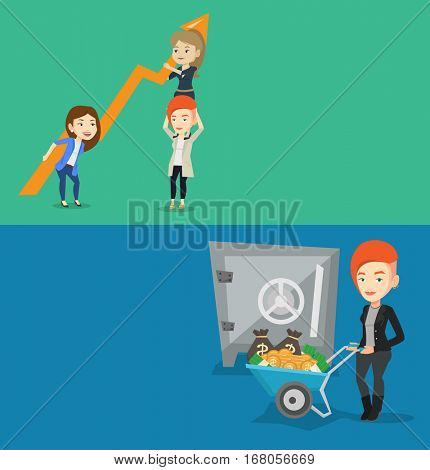 Two business banners with space for text. Vector flat design. Horizontal layout. Rich woman depositing money in bank safe. Rich woman pushing wheelbarrow with money on the background of bank safe.