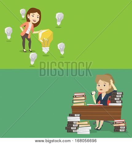 Two business banners with space for text. Vector flat design. Horizontal layout. Business woman having idea. Business woman standing among unlit light bulbs and looking at the brightest idea bulb.