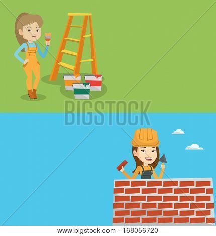 Two construction banners with space for text. Vector flat design. Horizontal layout. Caucasian house painter holding a paintbrush. House painter with paintbrush in hand. Concept of house renovation.