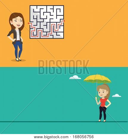 Two business banners with space for text. Vector flat design. Horizontal layout. Businesswoman looking at labyrinth with solution. Woman thinking about business solution. Business solution concept.