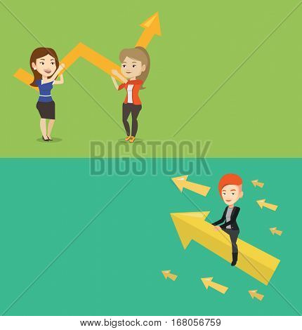 Two business banners with space for text. Vector flat design. Horizontal layout. Business woman sitting on arrow going to success. Successful businesswoman flying up on arrow to business success.