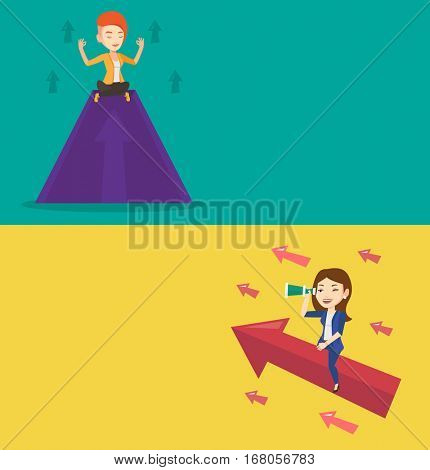 Two business banners with space for text. Vector flat design. Horizontal layout. Woman meditating on mountain with growth graph. Business woman thinking about growth graph. Business growth concept.