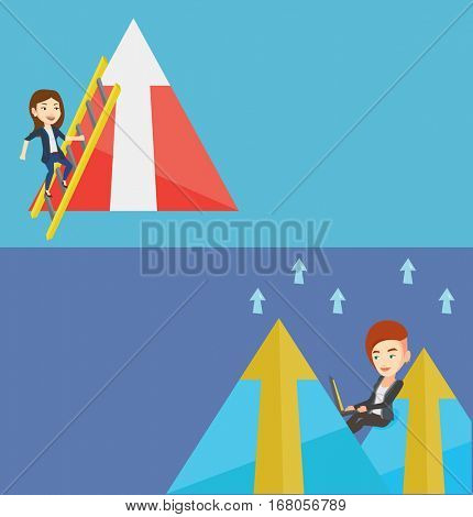 Two business banners with space for text. Vector flat design. Horizontal layout. Business woman climbing the ladder. Business woman climbing on mountain. Businesswoman climbing to the top of arrow.