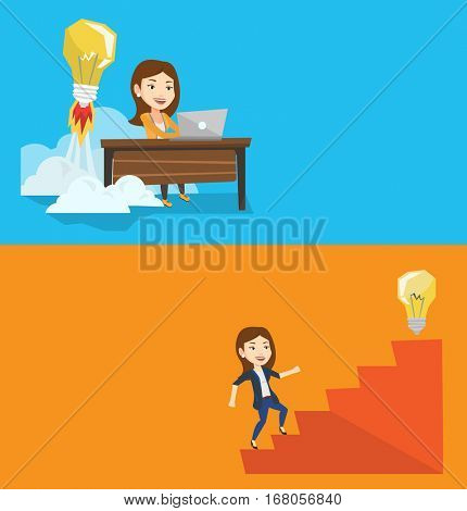 Two business banners with space for text. Vector flat design. Horizontal layout. Businesswoman working on laptop and idea bulb taking off behind her. Woman having business idea. Business idea concept.