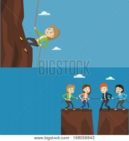 Two business banners with space for text. Vector flat design. Horizontal layout. Competitive business teams pulling rope on cliff. Competition between two teams of business people. Team work concept.
