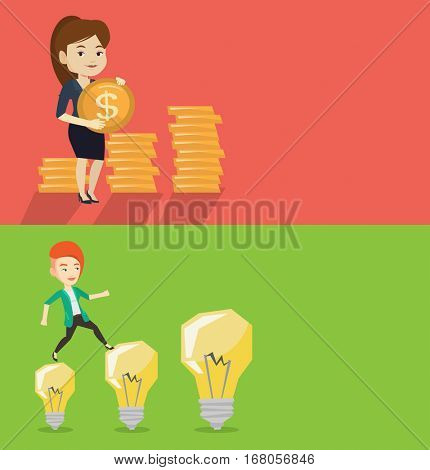 Two business banners with space for text. Vector flat design. Horizontal layout. Successful businesswoman with gold coin in hands. Successful businesswoman holding gold coin. Business success concept.