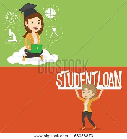 Two educational banners with space for text. Vector flat design. Horizontal layout. Woman holding sign of student loan. Woman carrying sign - student loan. Concept of the high cost of student loan.