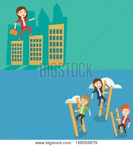 Two business banners with space for text. Vector flat design. Horizontal layout. Woman walking on roofs of city buildings. Woman walking on roofs of skyscrapers. Business woman walking to success.