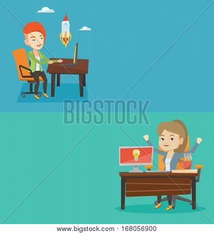 Two business banners with space for text. Vector flat design. Horizontal layout. Woman having business idea. Businesswoman working on a computer with idea bulb on a screen. Business idea concept.