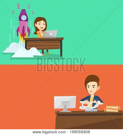 Two business banners with space for text. Vector flat design. Horizontal layout. Caucasian business woman sitting in office and tearing furiously bills. Young angry business woman calculating bills.