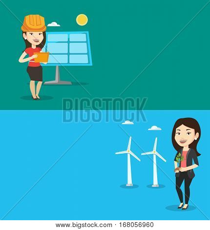 Two ecology banners with space for text. Vector flat design. Horizontal layout. Caucasian female worker of wind farm. Young woman holding green small plant in soil on the background of wind turbines.