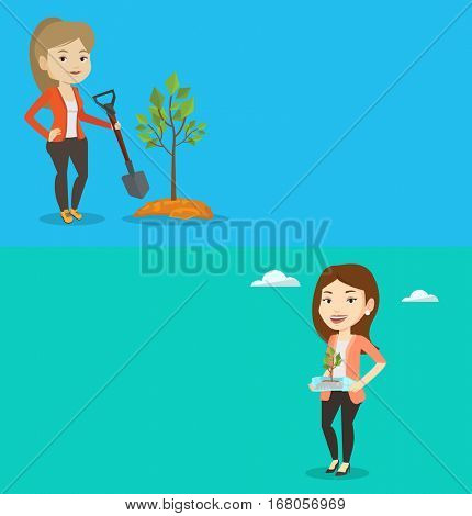 Two ecology banners with space for text. Vector flat design. Horizontal layout. Girl holding plastic bottle with plant inside. Woman holding plastic bottle used as plant pot. Plastic recycling concept