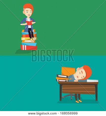 Two educational banners with space for text. Vector flat design. Horizontal layout. Fatigued student sleeping at the desk with books. Tired student sleeping after learning. Girl sleeping among books.