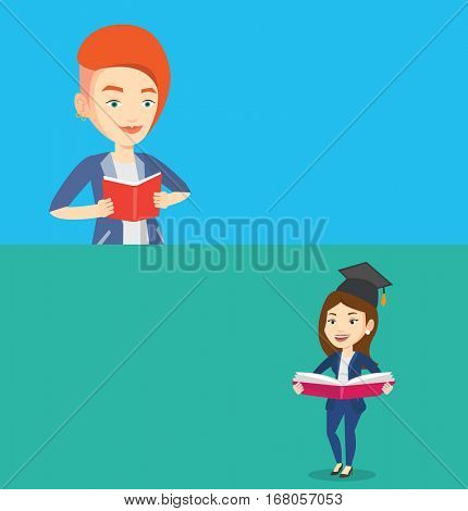 Two educational banners with space for text. Vector flat design. Horizontal layout. Student reading a book. Cheerful student reading a book and preparing for exam. Student holding a book in hands.