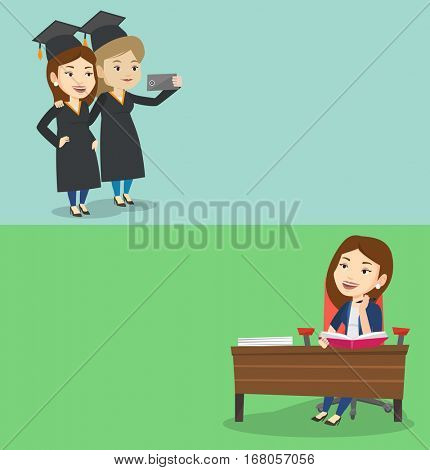 Two educational banners with space for text. Vector flat design. Horizontal layout. Cheerful graduates in cloaks and graduation caps making selfie. Caucasian graduates making selfie with cellphone.